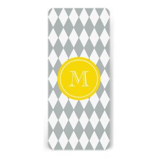 Gray White Harlequin Pattern, Yellow Monogram Custom Invitation