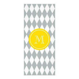 Gray White Harlequin Pattern, Yellow Monogram Personalized Invitation