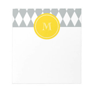 Gray White Harlequin Pattern, Yellow Monogram Notepad