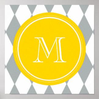Gray White Harlequin Pattern, Yellow Monogram Poster