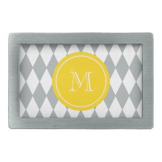 Gray White Harlequin Pattern, Yellow Monogram Rectangular Belt Buckle
