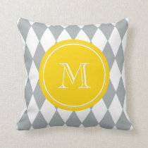Gray White Harlequin Pattern, Yellow Monogram Throw Pillow