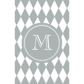 Gray White Harlequin Pattern Your Monogram Wall Calendar