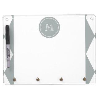 Gray White Harlequin Pattern Your Monogram Dry Erase Board
