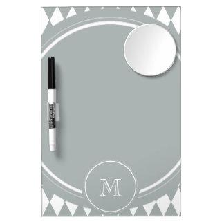 Gray White Harlequin Pattern Your Monogram Dry-Erase Board