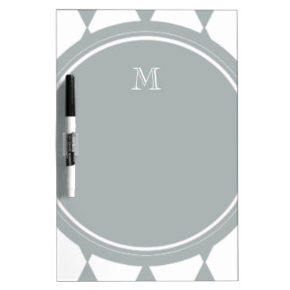 Gray White Harlequin Pattern Your Monogram Dry Erase White Board