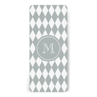 Gray White Harlequin Pattern, Your Monogram Personalized Invitations