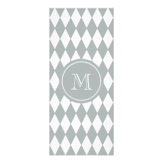 Gray White Harlequin Pattern, Your Monogram Personalized Invites