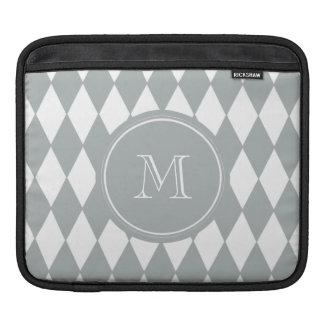 Gray White Harlequin Pattern, Your Monogram iPad Sleeve