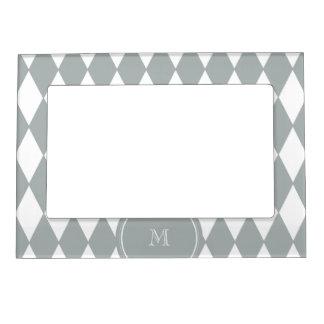 Gray White Harlequin Pattern, Your Monogram Magnetic Frame