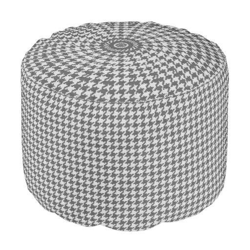 Gray & White Knit Houndstooth Geometric Pattern Round Pouf Zazzle