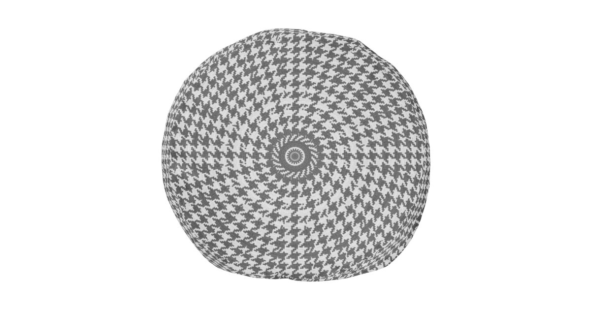 Houndstooth Knitting Pattern In The Round : Gray & White Knit Houndstooth Geometric Pattern Round Pouf Zazzle
