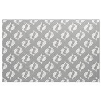 Gray white Koi Fish oriental pattern fabric