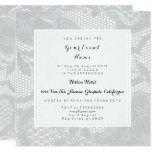 Hand shaped Gray White Lace Bridal Shower Birthay Party Card