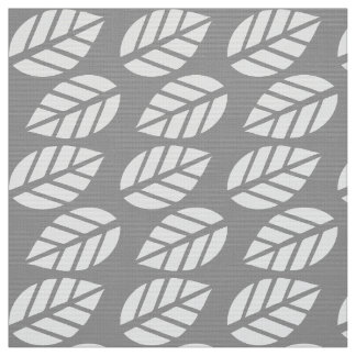Gray white leaves pattern fabric