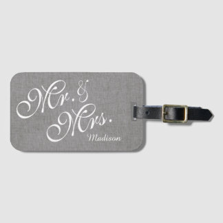 Gray White Linen Custom Mr. and Mrs. Wedding Luggage Tag