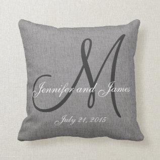 Gray White Linen Monogram Wedding Keepsake Throw Pillow at Zazzle