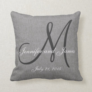 Gray White Linen Monogram Wedding Keepsake Throw Pillow