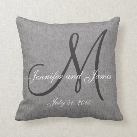 White Linen Throw Pillow : Gray White Linen Monogram Wedding Keepsake Throw Pillow 298307