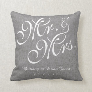 Gray White Linen Mr. And Mrs. Wedding Pillow at Zazzle