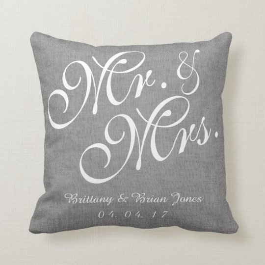 Gray White Linen Mr And Mrs Wedding Pillow Zazzle Com