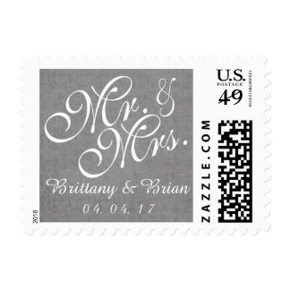 Gray White Linen Mr. and Mrs. Wedding Postage