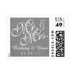 Gray White Linen Mr. and Mrs. Wedding Postage Postage