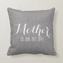 Gray White Linen Personalized Mother's Day Gift Throw Pillow