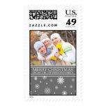 Gray White Merry Christmas Custom Name Photo Postage