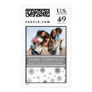 Gray White Merry Christmas Custom Name Photo Stamp