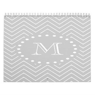 Gray White Modern Chevron Custom Monogram Calendars