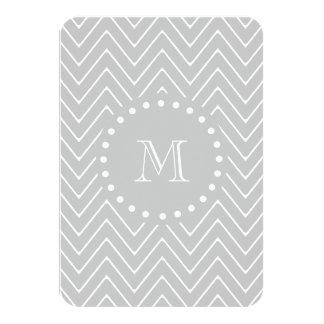 Gray & White Modern Chevron Custom Monogram Card