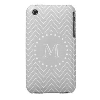 Gray White Modern Chevron Custom Monogram iPhone 3 Case