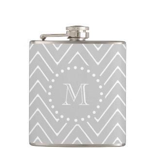 Gray & White Modern Chevron Custom Monogram Flask