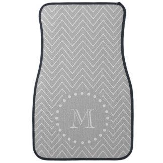 Gray & White Modern Chevron Custom Monogram Floor Mat