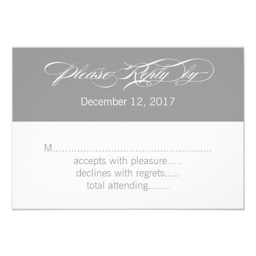 Gray White Modern Wedding RSVP Card