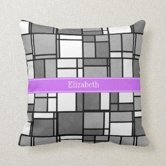 Gray White Mondrian Style Lilac Ribbon Monogram Pillows