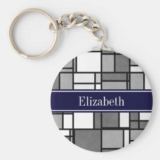 Gray White Mondrian Style Navy Ribbon Monogram Keychain