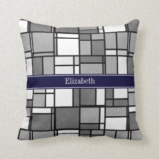 Gray White Mondrian Style Navy Ribbon Monogram Pillows