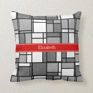 Gray White Mondrian Style Red Ribbon Monogram Throw Pillow
