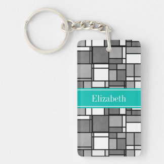 Gray White Mondrian Style Teal Ribbon Monogram Keychain