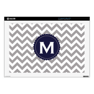 "Gray White Monogram Chevron Pattern 17"" Laptop Decal"