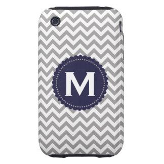 Gray White Monogram Chevron Pattern iPhone 3 Tough Cover