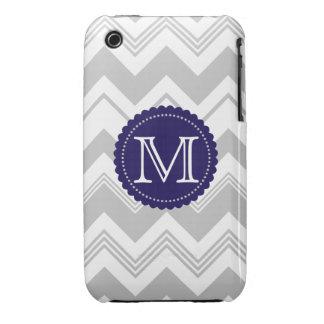 Gray White Monogram Chevron Pattern iPhone 3 Case-Mate Cases