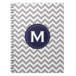 Gray White Monogram Chevron Pattern Spiral Note Books