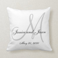Gray White Monogram Wedding Pillows