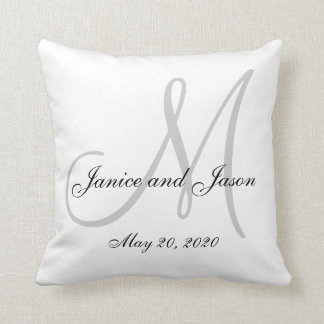 Gray White Monogram Wedding Throw Pillow