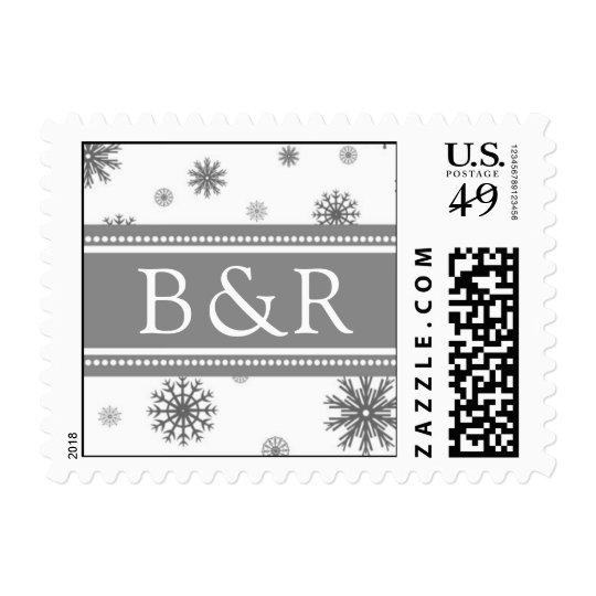 Gray White Monogram Winter Wedding Stamps