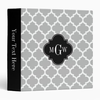 Gray White Moroccan #5 Black 3 Initial Monogram Binder