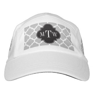 Gray White Moroccan #5 Black 3 Initial Monogram Hat